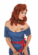 Ladies Ginger Wig Retro Rock 40'S Pin Up Pinup Fancy Dress Up Costume Accessory