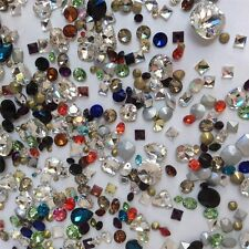 SUPER MIXED Rhinestones Crystal Glass Point back Chaton Strass Many Shapes 50g