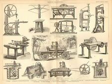 1874 PRINT ~ SAWING MACHINE ~ BELT SAW CIRCULAR TENON-CUTTING MACHIN SAW VENEER