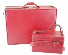 VINTAGE HARTMANN LUGGAGE Red Leather 2 Pc Bag and Makeup Case - WITH KEY