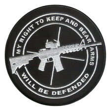 """5"""" Embroidered Patch """"My Right to Bear Arms will be Defended"""" NRA 2nd Amendment"""