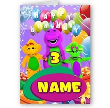 Personalised Barney and Friends, Name & Age A5 Happy Birthday Card with Envelope