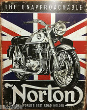 "NORTON MOTORCYCLES/ UNAPPROACHABLE  VINTAGE-STYLE METAL WALL SIGN 12.5""X 16"""