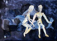 IL DIALOGO olio su tela 54 x 38 telaio invaso