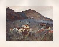 1905 FLORENCE ITALY ANTIQUE  PRINT : MISTY MORNING BELOW MONTE CECERI FIESOLE
