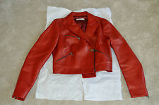 Prada Red Leather Biker Jacket Zip Through Womens Size ITA 44 / UK 10