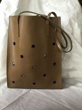 Furla Thick Brown Leather Paper Lunch Bag Style Purse Tote Handbag Made in ITALY