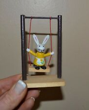 Vintage Wooden Figure Rabbit on Swing