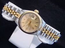 Rolex Date Lady 2Tone 14K Yellow Gold Stainless Steel Watch Champagne Dial 6917