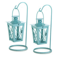 """2 Small IRON hanging BLUE 9"""" Candle holder Lantern fairy light terrace outdoor"""