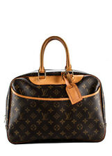 AUTH LOUIS VUITTON Brown Coated Canvas Monogram Deauville Travel Bag BP2752 MHL