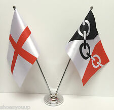 England & The Black Country Flags Chrome and Satin Table Desk Flag Set