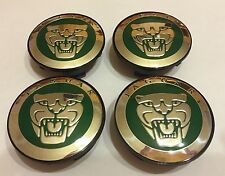 JAGUAR GREEN 59mm ALLOY WHEEL CENTRE CAPS for X TYPE, XJ,X,S,XK,XK8,F,XE,F