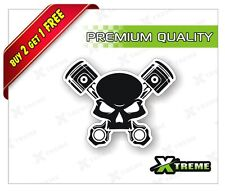 XTREME-in SKULL WITH PISTON LOGO REFLECTIVE STICKER FOR CAR, BIKE,GLOSS (4 inch)