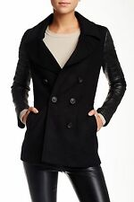 NWT $750 MACKAGE LORA BLACK WOOL AND LEATHER SLEEVES PEA COAT JACKET M