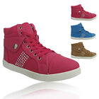 LADIES HI TOPS WOMENS BOOTS ANKLE SHOES GIRLS HIGH DIAMANTE TRAINERS PUMPS SIZE