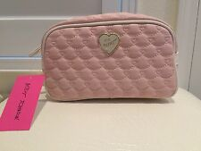 Authentic New BETSEY JOHNSON PINK HEART Travel Cosmetic MakeupPouch Case Bag NWT