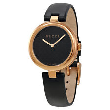Gucci Diamatissima Black Lacquered Dial Pink Gold PVD Leather Ladies Watch