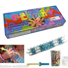 DIY Rainbow Loom Super Fun Latex 600 Rubber Band Bracelet Making Kit Clips Tool