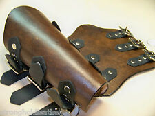 "8"" Tall Pair Bison Brown / Brass Premium Handmade Bracers- SCA LARP Steampunk"