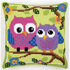 "Owls On A Branch Chunky Cross stitch cushion front kit 16x16"" tapestry canvas"