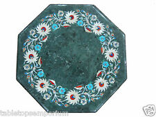 """15"""" Green Marble Rare Foyer Table Coffee Top Handmade Mosaic Home Decor Gifts"""