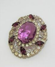Vintage JULIANA D&E purple & clear Rhinestone BROOCH pin Pendant costume jewelry