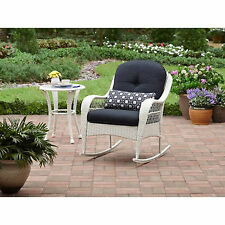 Rocking Chair Wicker Outdoor White Porch Rocker With Cushion Patio Furniture New