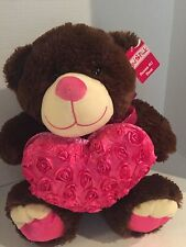 """Roses 4 U Brown Bear 18"""" by Red Pink - NEW - NWT Gift for Him or Her say I love"""