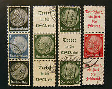 "GERMANY,GERMANIA D.REICH Zusammendruck 1933 ""HINDENBURG"" 4 Valori USED"