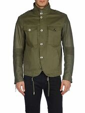 DIESEL LADING OLIVE GREEN LEATHER-SLEEVE JACKET SIZE M 100% AUTHENTIC