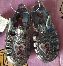 Baby Toddler Girls Size 6 Disney Frozen Glitter Beach Jelly Shoes/sandals BNWT