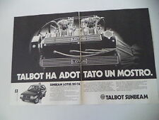 advertising Pubblicità 1980 TALBOT SUNBEAM LOTUS