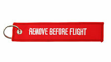 remove before flight keyring keychain tag RED Luggage Tag embroidered