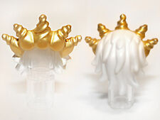 LEGO - Minifig, Headgear Hair Ocean King with Gold Spiked Tiara - White