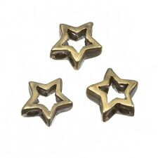 Antique Brass Cut Out Metal Star 2 Hole Beads 13mm Pack of 3 (C81/7)