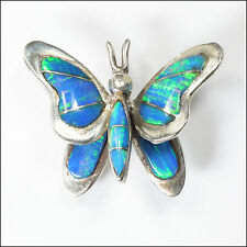 Silver and Laboratory Opal Butterfly Brooch