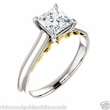 Semi Mount Setting Yellow White Gold Engagement Ring for Princess Cut Solitaire