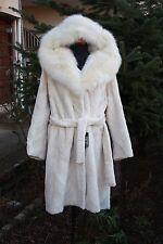 New Sheared Pearl Beaver Fur Coat Fox Collar MEXA
