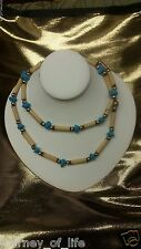 Indian Faux Turquoise Ivory Wood Reed Silver Tone Bead Necklace