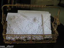 """10"""" INCH WHITE SQUARE WEDDING LACE VICTORIAN FLOWER BASKET BOW 25 PC ENVELOPES"""