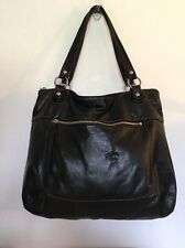 COACH Poppy Leather Black Glam Tote 19002