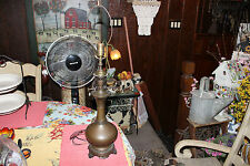 Antique Chinese Asian Copper Metal Vase Converted Into Lamp-Bulbous Body-LQQK