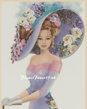 Cross stitch chart  Elegant Lady 156d Flowerpower37-uk.-.free uk P&p......