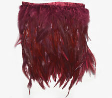 F289 PER30cm-Burgundy Red Rooster Hackle feather fringe Trim Fascinator Material