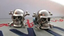 pair of 2 NEW Custom Skull License plate tag frame bolts Motorcycle bike hot rod