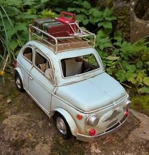 Vintage Fiat 500 Tin Model Aged Looking  Retro 1960's with Luggage