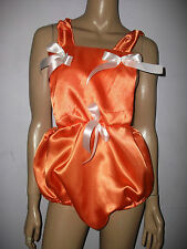 ADULT BABY SISSY ROMPER SUIT BRIGHT ORANGE SATIN BIB TOP WHITE BOWS 30-45  WAIST