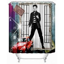 Elvis Presley Jail House Rock Classic Red Car Shower Curtain Bathroom Decor