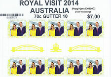 2014 ♔ Australia ♔ Royal Visit HRH Prince William & Kate 70¢ gutter strip of 10